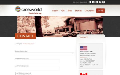 Screenshot of Contact Page crossworld.org - Contact Crossworld | Nondenominational Mission Agency | Crossworld - captured Sept. 30, 2014