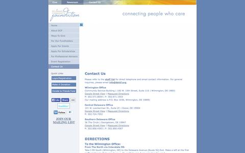 Screenshot of Contact Page delcf.org - Delaware Community Foundation | About Us | Quick Facts - captured Oct. 5, 2014