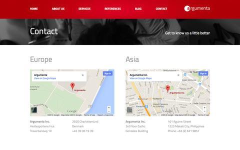 Screenshot of Contact Page argumenta.com - Contact argumenta contact page - captured Oct. 4, 2014