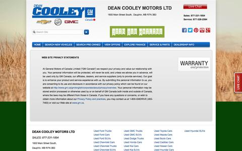 Screenshot of Privacy Page deancooleygm.ca - Privacy Policy of Dean Cooley Motors Ltd - captured Sept. 30, 2014