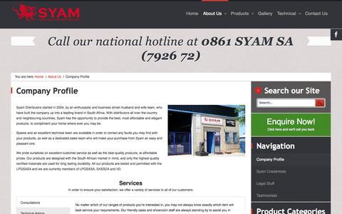 Screenshot of About Page syam.co.za - Company Profile - Syam Distributors - captured Oct. 9, 2014