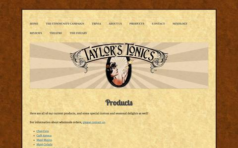 Screenshot of Products Page taylorstonics.com - Products | Taylor's Tonics - captured Oct. 26, 2014