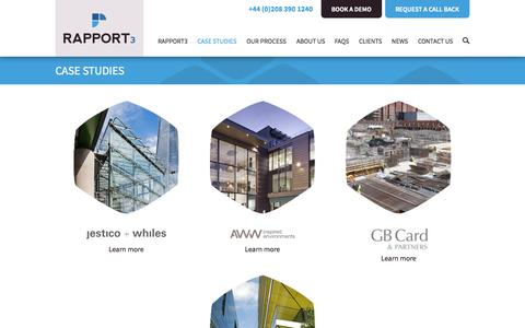 Screenshot of Case Studies Page cubic-interactive.com - Project management for construction, architects and engineers. Case Studies Rapport3 by Cubic Interactive. - captured Nov. 2, 2014