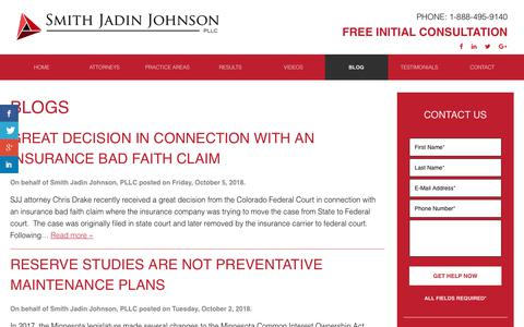 Screenshot of Blog sjjlawfirm.com - Blog | Smith Jadin Johnson, PLLC - captured Oct. 18, 2018