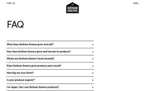 Screenshot of FAQ Page gothamgreens.com - FAQ - Gotham Greens - captured Dec. 6, 2019