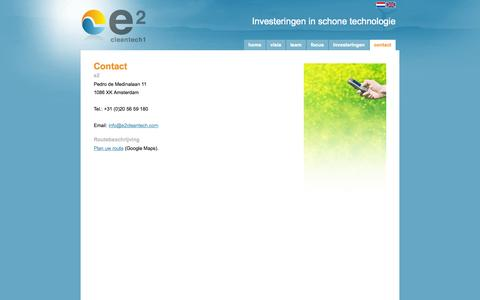 Screenshot of Contact Page e2cleantech.com - e2 - Investeren in schone technologie - Contact - captured Oct. 3, 2014