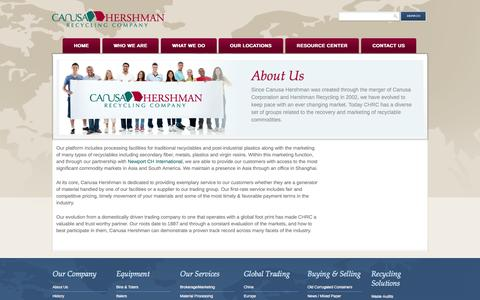 Screenshot of About Page chrecycling.com - About Us | Canusa Hershman Recycling Company - captured Oct. 1, 2014