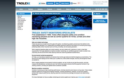 Screenshot of About Page trolex.com - About Trolex - Environmental & Machine Condition Monitoring - captured Oct. 9, 2014