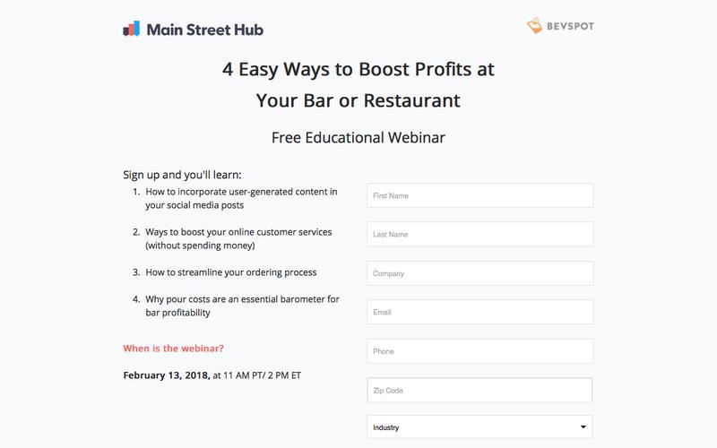Free Webinar: Main Street Hub & BevSpot
