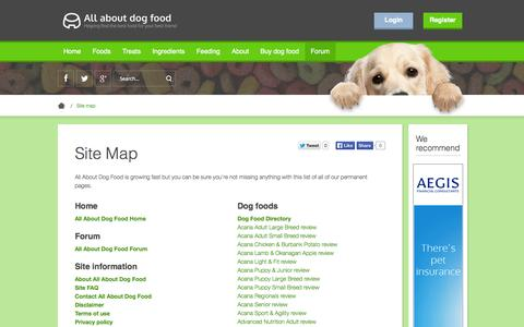 Screenshot of Site Map Page allaboutdogfood.co.uk - Site Map | All About Dog Food - captured Sept. 22, 2014