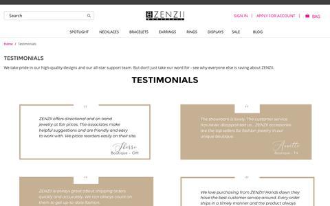 Screenshot of Testimonials Page zenziiwholesale.com - Testimonials   ZENZII Wholesale - captured Oct. 21, 2018