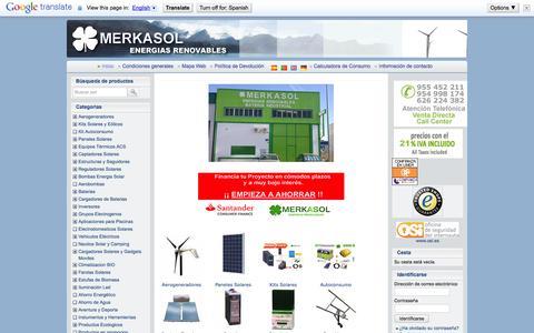 Screenshot of Home Page merkasol.com - Kit Solar Paneles Solares Baterias Equipos Solares Termicos - captured Sept. 23, 2014