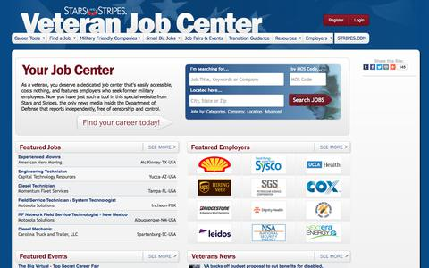 Screenshot of Jobs Page stripes.com - Largest source of military transition assistance information and jobs for today's veterans - captured June 20, 2017