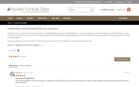 Screenshot of Testimonials Page wooden-furniture-store.co.uk - Customer Reviews - captured Aug. 14, 2016