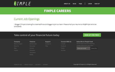 Screenshot of Jobs Page fimple.net - Career | Fimple - captured Sept. 30, 2014