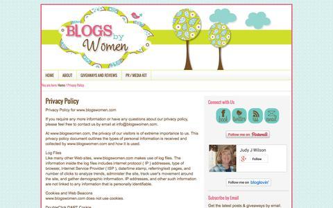 Screenshot of Privacy Page blogswomen.com - Privacy Policy - captured Nov. 4, 2014