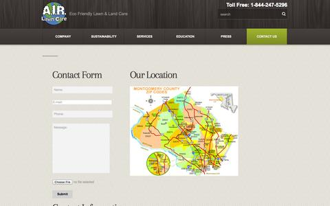 Screenshot of Contact Page airlawncare.com - Contact  – A.I.R. Lawn Care - captured Oct. 29, 2014