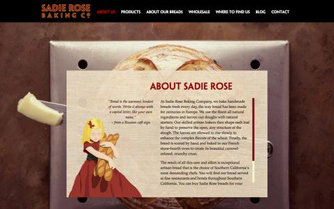 Screenshot of About Page sadierose.com - About Us | Sadie Rose Baking Co. – Wholesale Artisan Bread Bakery in San Diego - captured Oct. 4, 2014