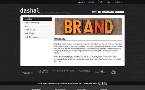Screenshot of Services Page dashal.com - Chicago agency specalizing in digital branding   Dashal - captured Sept. 30, 2014