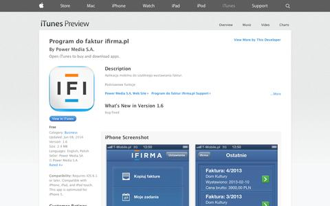 Screenshot of iOS App Page apple.com - Program do faktur ifirma.pl on the App Store on iTunes - captured Oct. 23, 2014