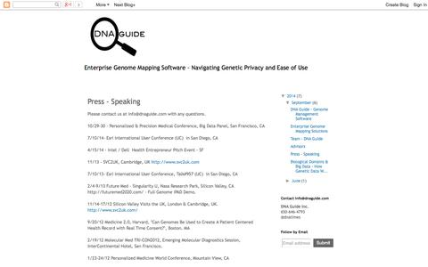 Screenshot of Press Page dnaguide.blogspot.com - DNA GUIDE: Press - Speaking - captured Sept. 15, 2014