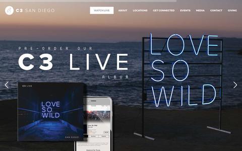Screenshot of Home Page c3sandiego.com - C3 Church San Diego - CONNECT | GROW | SERVE | LEAD - captured July 9, 2017