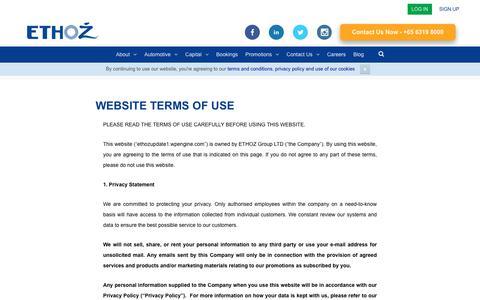 Screenshot of Terms Page ethozgroup.com - Website Terms of Use - ETHOZ - captured Sept. 26, 2018