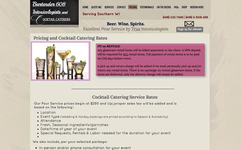 Screenshot of Pricing Page bartender608.com - PRICING - Bartender 608 Intoxicologists & Cocktail Caterers - captured Sept. 30, 2014