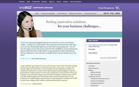 Screenshot of Testimonials Page telebizz.co.uk - teleBIZZ Virtual Receptionist : Testimonials - captured Oct. 3, 2014