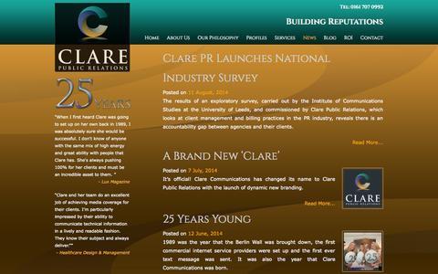 Screenshot of Press Page clarepr.com - News | Clare Public Relations - captured Nov. 2, 2014