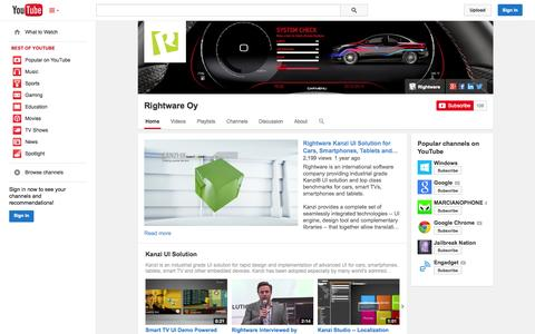 Screenshot of YouTube Page youtube.com - Rightware Oy  - YouTube - captured Oct. 22, 2014
