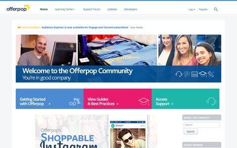 Screenshot of Support Page offerpop.com - Welcome | Offerpop Community - captured July 3, 2015
