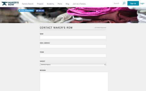 Screenshot of Contact Page makersrow.com - Contact Us | Maker's Row - captured July 23, 2019