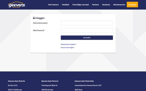Screenshot of Login Page geevers.eu - Geevers Autoparts - captured Nov. 1, 2016