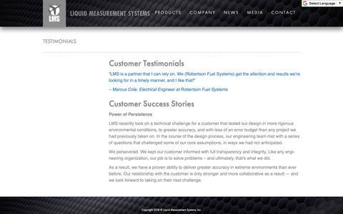 Screenshot of Testimonials Page liquidmeasurement.com - Testimonials - Liquid Measurement Systems - captured Nov. 10, 2018