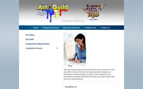 Screenshot of Locations Page banner-express.com - Art Guild & Banner Express : Company Info : Locations & Hours - captured Dec. 29, 2015
