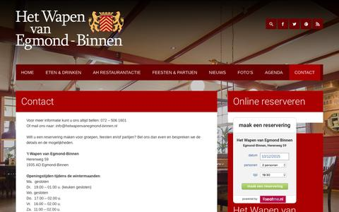 Screenshot of Contact Page hetwapenvanegmond-binnen.nl - Contact - Het Wapen van Egmond-Binnen - captured Dec. 9, 2015