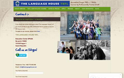 Screenshot of Contact Page thelanguagehouse.net - Contact Us - captured Oct. 24, 2017