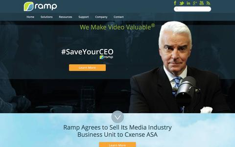 Screenshot of Home Page ramp.com - RAMP: Complete Video Solutions For Media and the Enterprise - captured Feb. 18, 2016