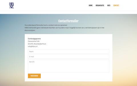 Screenshot of Contact Page hbnz.nl - Contact   Stichting Huurdersbelangen Noordwijkerhout - captured Sept. 30, 2018