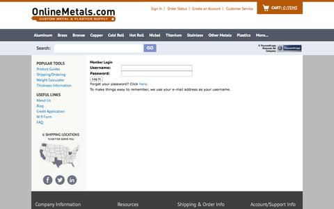 Screenshot of Login Page onlinemetals.com - Online Metal Store | Small Quantity Metal Orders | Metal Cutting, Sales & Shipping | Buy Steel, Aluminum, Copper, Brass, Stainless | Metal Product Guides at OnlineMetals.com - captured Sept. 19, 2014