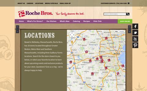 Screenshot of Locations Page rochebros.com - Locations «  Rochebros - captured Oct. 26, 2014