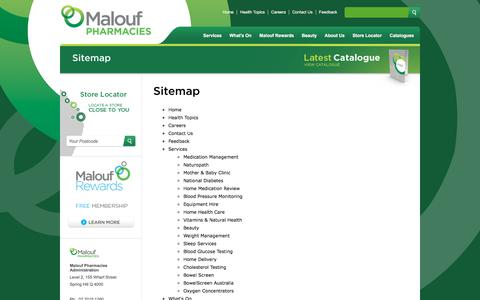 Screenshot of Site Map Page maloufpharmacies.com.au - Sitemap - captured July 27, 2018