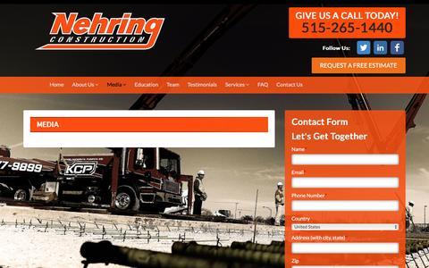 Screenshot of Press Page nehringconstruction.com captured Nov. 29, 2016
