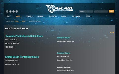 Screenshot of Locations Page canoe-kayak.com - Locations and Hours - captured Jan. 26, 2016