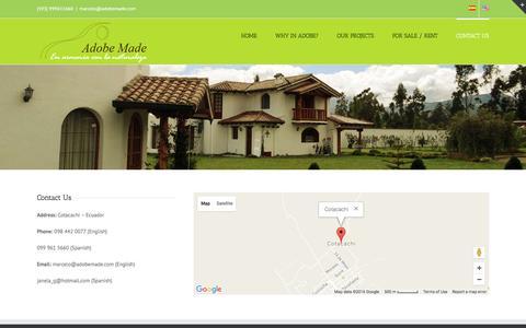 Screenshot of Contact Page adobemade.com - Adobe Made :: Líder en el campo de la construcción en adobe, y en la venta de bienes raíces   –  CONTACT US - captured Nov. 20, 2016