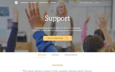 Screenshot of Support Page edmodo.com - Edmodo | Real teachers, real support | Visit our Help Center - captured June 16, 2015