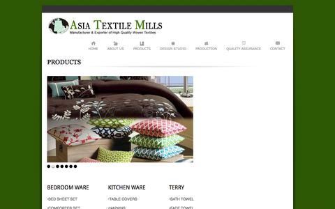 Screenshot of Products Page asiagroup.org - Products | Asia Textile Mills - captured Oct. 27, 2014