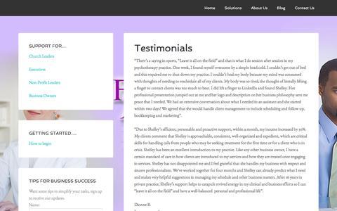 Screenshot of Testimonials Page yourfaithfulassistant.com - Testimonials for Your Faithful Assistant - captured Feb. 13, 2016