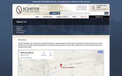 Screenshot of Maps & Directions Page schifferbooks.com - Directions : Schiffer Publishing - captured Sept. 19, 2014